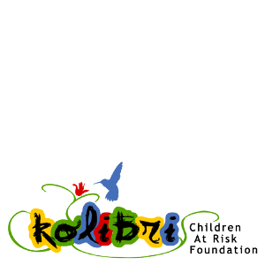 Image of Kolibri CARF's logo with letters in bright colors and a kolibri bird.